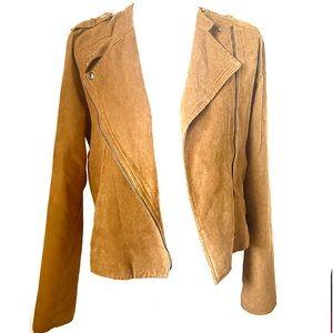 Brown faux suede biker blazer jacket